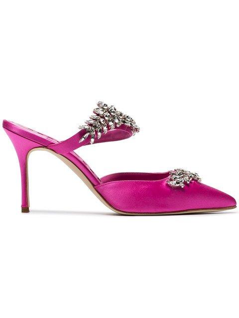Manolo Blahnik Pink Lurum Crystal 90 Satin Mules - Farfetch