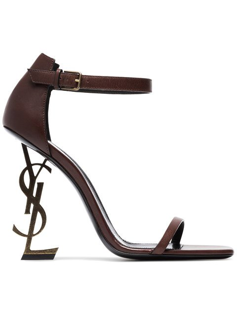 Saint Laurent Brown Opyum 110 Leather Sandals - Farfetch