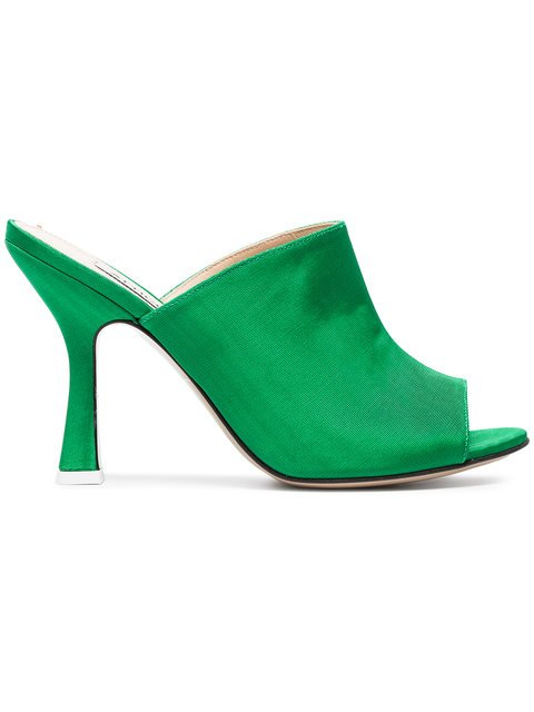 Attico Green Pamela 100 Satin Mules - Farfetch