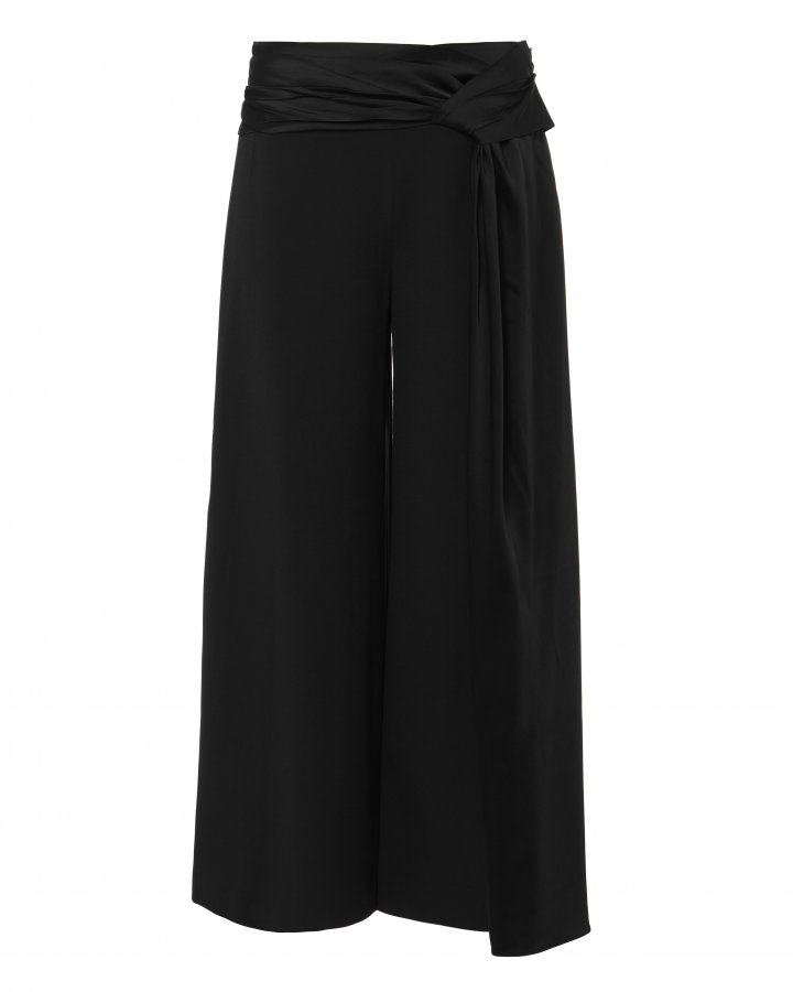 Fluid Satin Wrap Cropped Pants