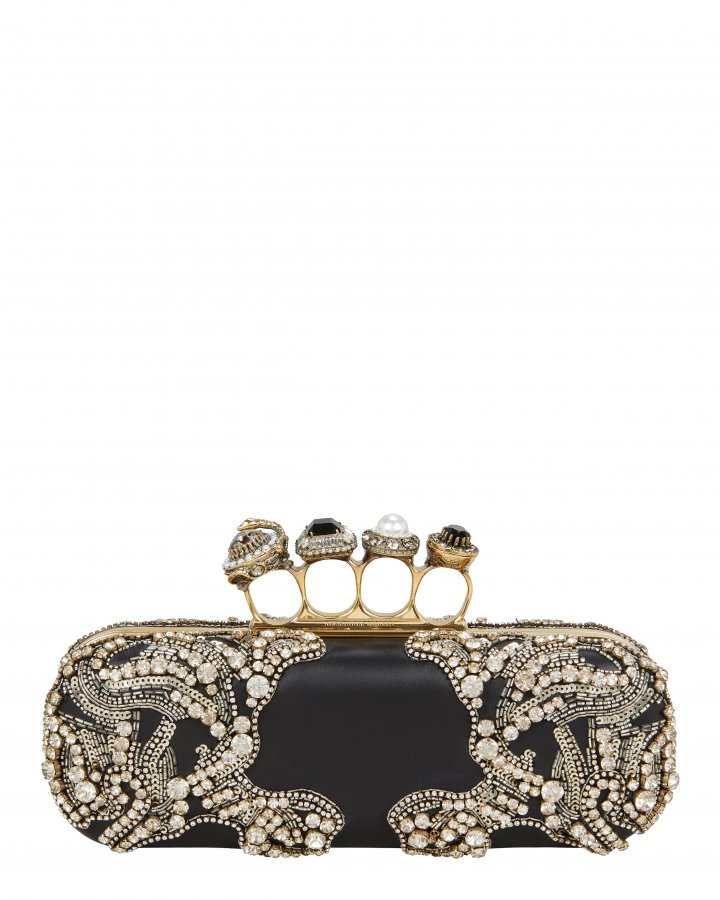 Jewel Four Ring Black Clutch