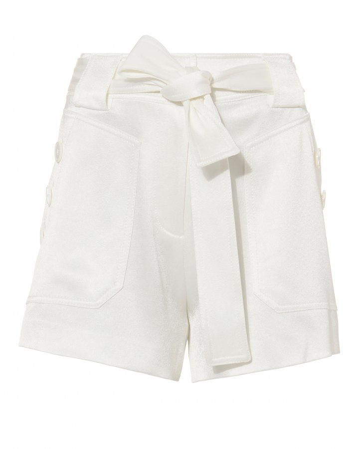 Satin White Shorts
