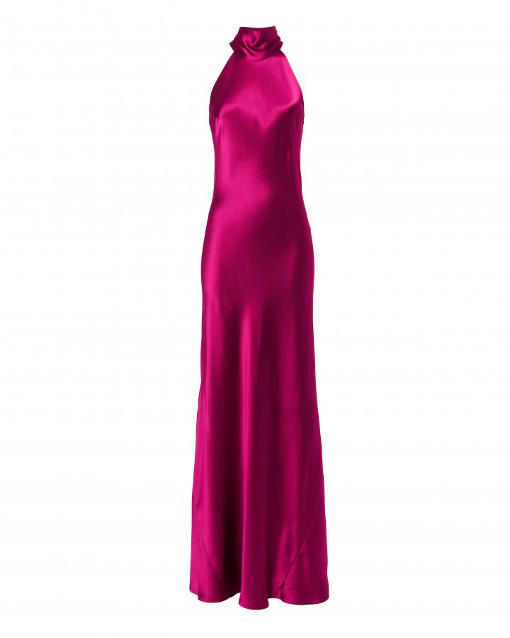 Sash Neck Satin Gown