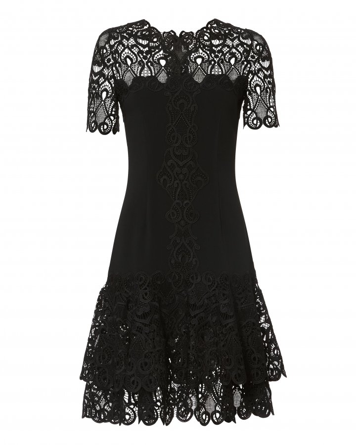 Lace Appliqué Crepe Black Mini Dress