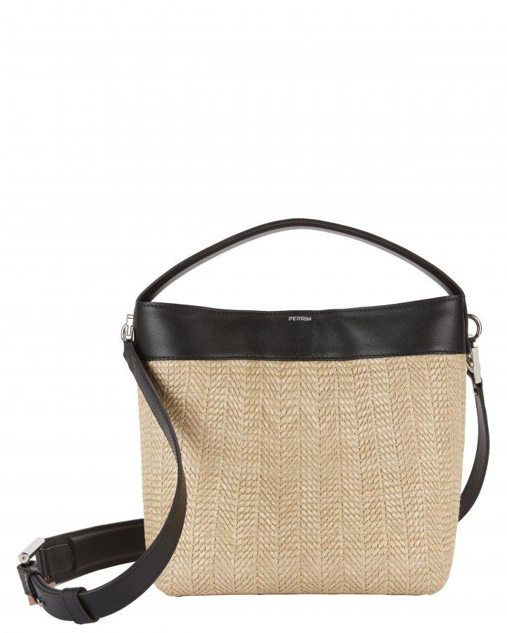 Le Mini Baggala Leather and Raffia Bag