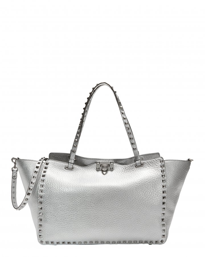 Rockstud Silver Medium Tote