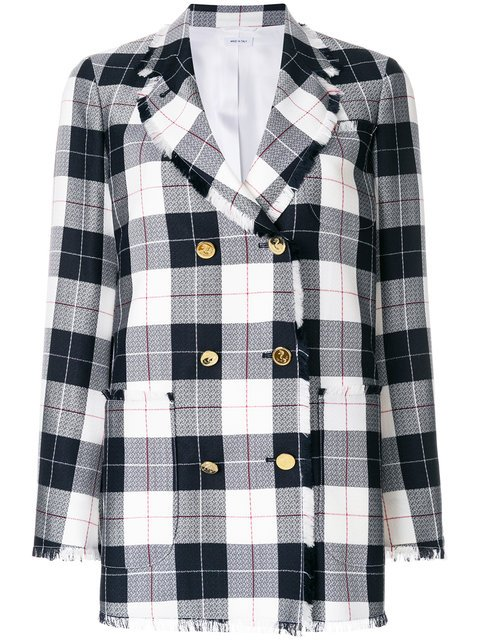 Thom Browne Double Breasted Sack Jacket With Fray In Large Buffalo Check Wool/cotton Sable - Farfetch