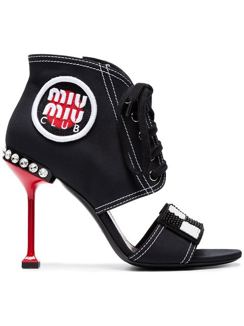Miu Miu Black Club Patch 105 Canvas Sandals - Farfetch