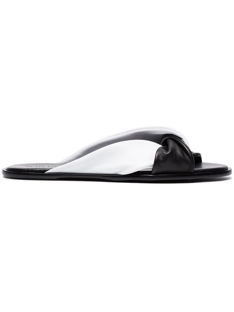 Haider Ackermann Black And White Flat Leather Sandals - Farfetch