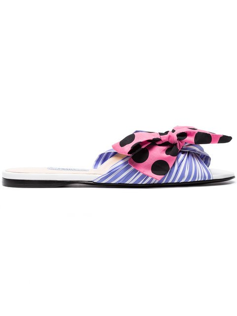 Prada Multicoloured Striped Bow Leather Sandals - Farfetch