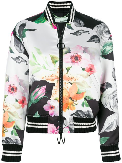 Off-White Floral Print Bomber Jacket - Farfetch
