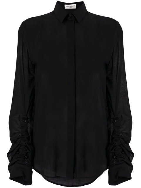 Saint Laurent Sheer Fitted Blouse - Farfetch