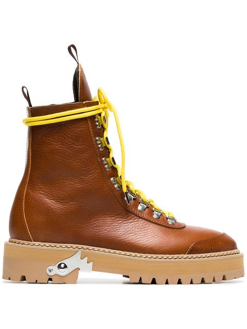 Off-White Camel Lace-up Leather Hiking Boots - Farfetch