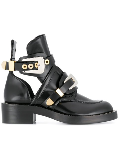 Balenciaga Black Ceinture Leather Ankle Boots - Farfetch