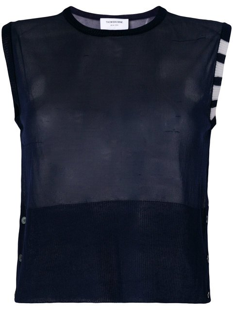 Thom Browne Sheer Classic Crew Neck Shell Top With 4-bar Stripe In Silk Tulle Knit - Farfetch