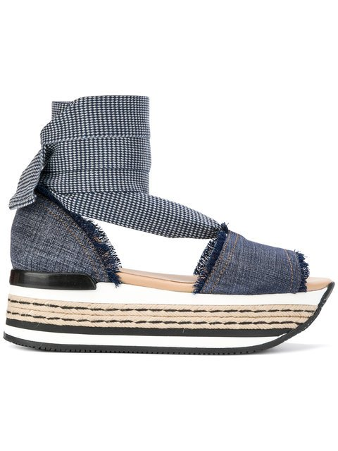 Hogan Denim Platform Sandals - Farfetch