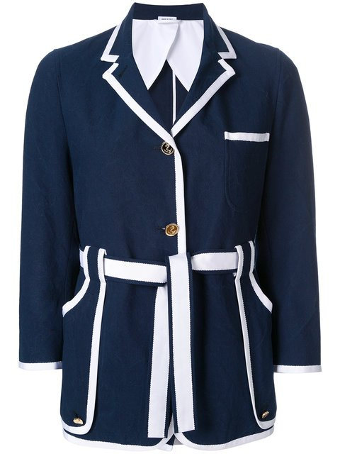 Thom Browne Sack Jacket With Grosgrain Tipping In Salt Shrink Cotton - Farfetch
