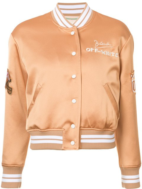 Off-White Embroidered Satin Varsity Bomber - Farfetch