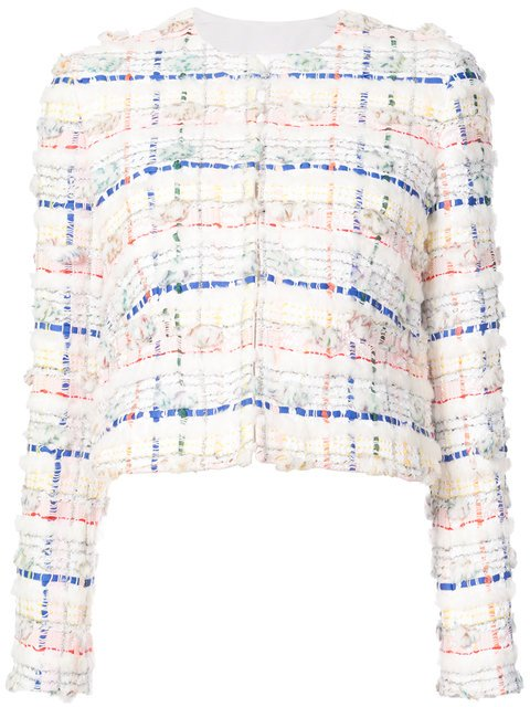 Thom Browne Single Breasted Sack Jacket With Exposed Pockets, Belt & Grosgrain Tipping In Salt Shrink Cotton - Farfetch
