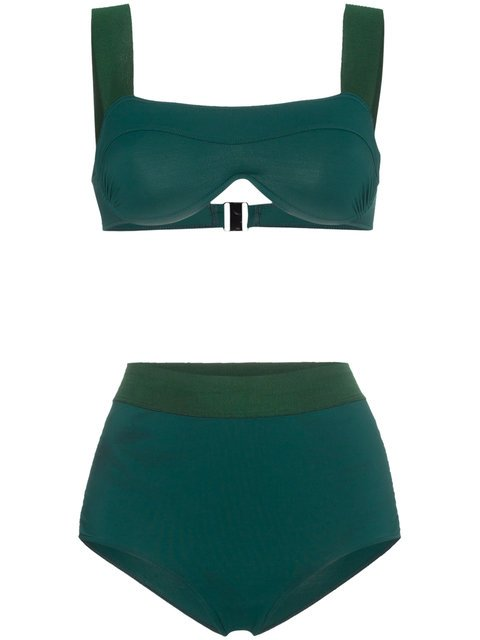 Leslie Amon Green Luna High Waist Bikini Set - Farfetch