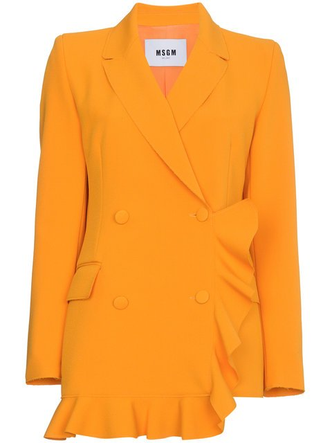 MSGM Orange Double Breasted Ruffle Blazer - Farfetch