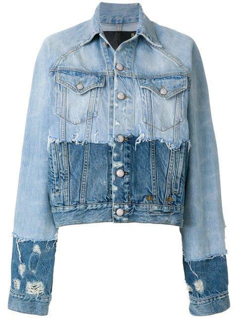 R13 Contrast Distressed Denim Jacket - Farfetch