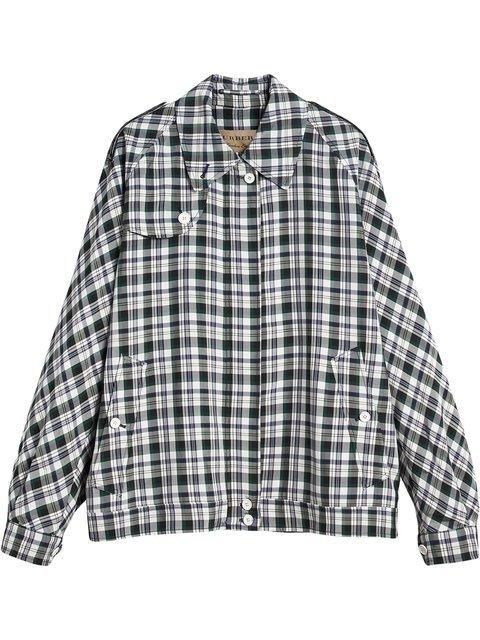 Burberry Check Oversized Harrington Jacket - Farfetch