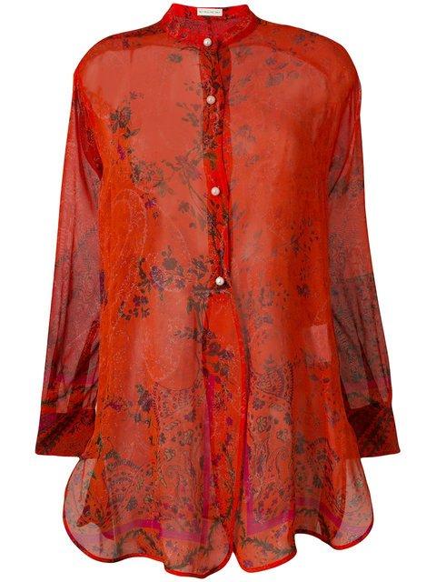 Etro Printed Sheer Collarless Shirt - Farfetch