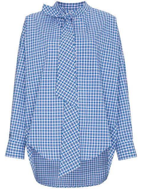 Balenciaga Oversized Logo Print Check Cotton Shirt - Farfetch
