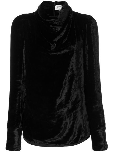 Maison Margiela Satin Draped High Neck Blouse - Farfetch