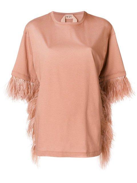 Nº21 Feather Trim Oversized T-shirt - Farfetch