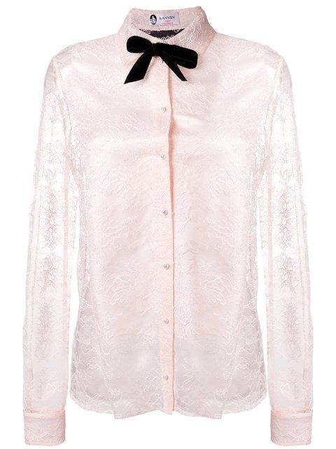 Lanvin Pussy Bow Lace Blouse - Farfetch
