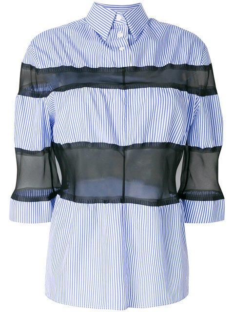 Maison Margiela Organza Insert Striped Shirt - Farfetch