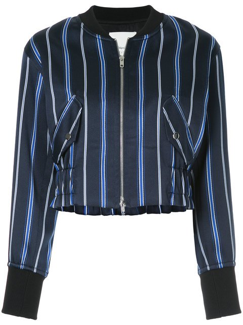 3.1 Phillip Lim Zipped Striped Bomber Jacket - Farfetch