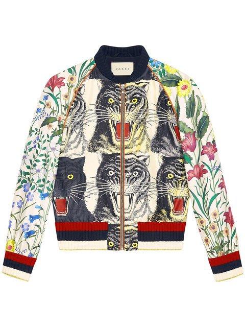Gucci Patchwork Print Silk Bomber - Farfetch