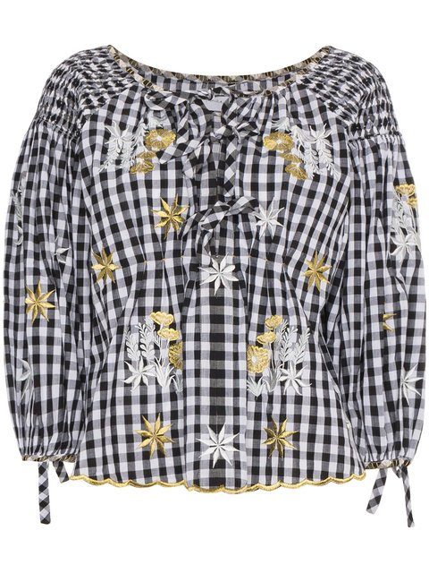 Innika Choo Floral Embroidered Gingham Bell Sleeve Top - Farfetch
