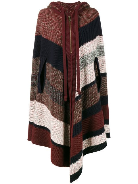 Chloé Knitted Stripe Hooded Poncho - Farfetch