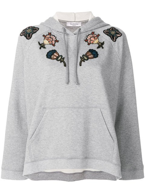 Valentino Floral Embroidered Hoodie - Farfetch