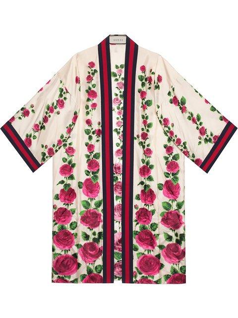 Gucci Rose Garden Print Silk Kimono - Farfetch