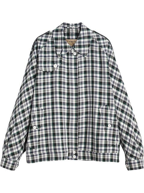 Burberry Check Oversized Harrington Jacket - Farfetch
