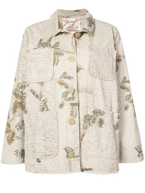 By Walid Oversized Foliage Print Denim Jacket - Farfetch