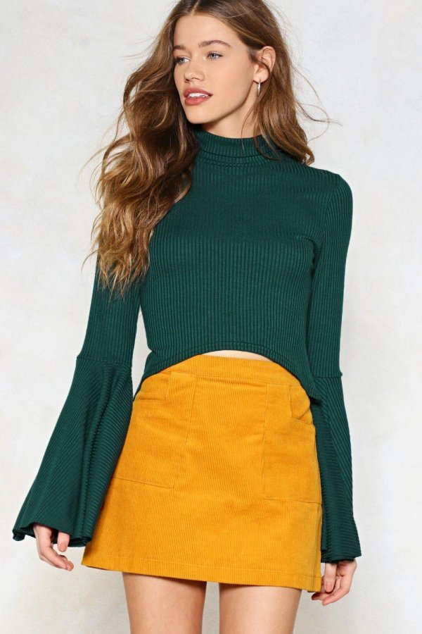 Take Flare of It Ribbed Crop Top
