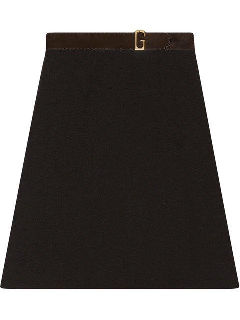 Gucci Linen Canvas Belted Skirt - Farfetch