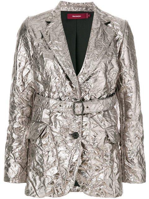 Sies Marjan Textured Metallic Belted Blazer - Farfetch