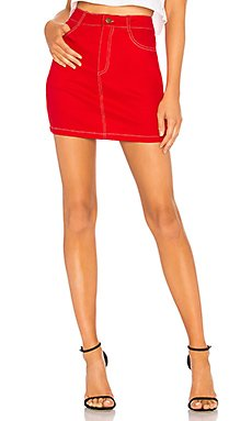 Cami Red Denim A Line Skirt                                             by the way.