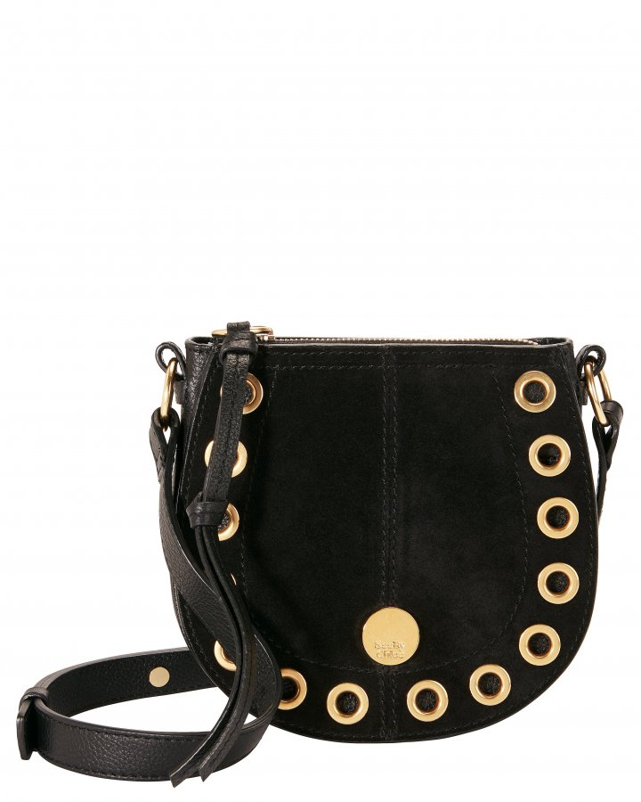 Gold Grommet Black Crossbody Bag
