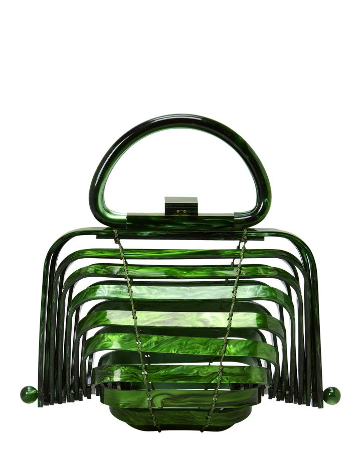 Lilleth Acrylic Green Fold Top Bag