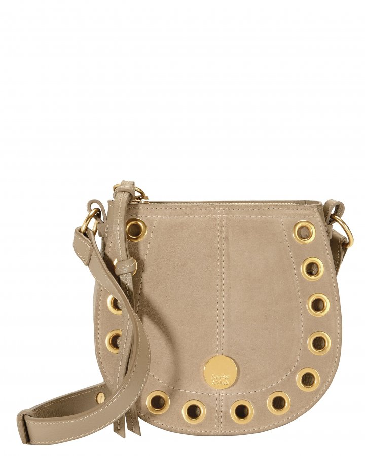 Gold Grommet Beige Crossbody Bag