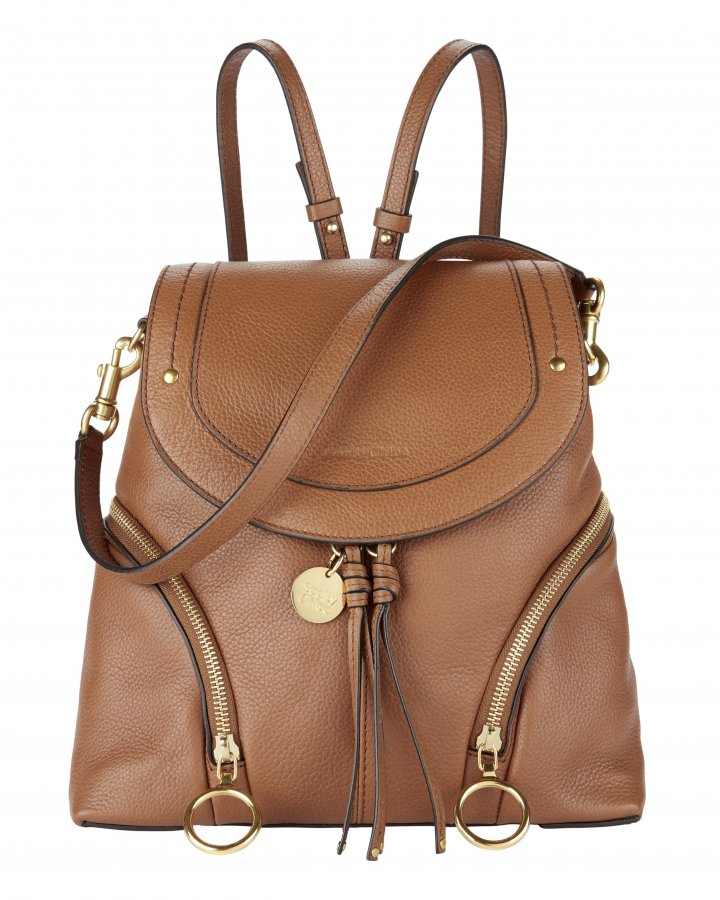 Double Gold Zip Leather Backpack