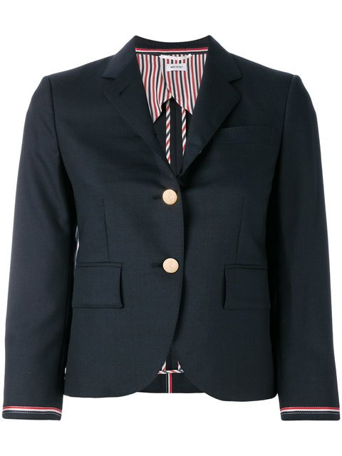 Thom Browne Single Breasted Sport Coat With Selvedge Stripe Insert In Super 100\'s Step Twill Wool - Farfetch